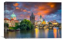 River Vltava at Dusk Prague Czech Republic, Canvas Print