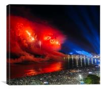 Heart-shaped fireworks at NYE party in Rio, Brazil, Canvas Print