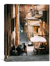 Aperitivo time in Siena, Tuscany, Italy, Canvas Print