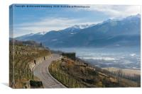 Swerving roads in Valtellina, Lombardy, Italy, Canvas Print
