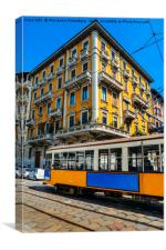 Vintage Milanese tram and building, Canvas Print