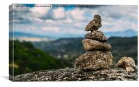 Rock cairn trail marker , Canvas Print