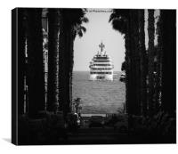 Palm tree and luxury yacht, Canvas Print
