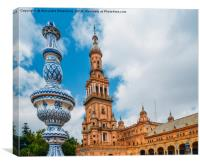 Plaza de Espana in Seville, Andalusia, Spain, Canvas Print