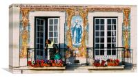 Man Watering Plants on Balcony, Portugal, Canvas Print