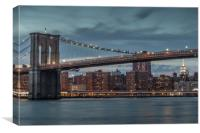 Brooklyn Bridge in New York at Sunset, Canvas Print