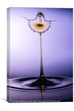 Purple gold water drop, Canvas Print