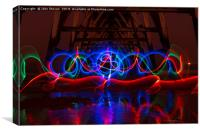 Lightpainting at Steetley Pier Hartlepool 02, Canvas Print