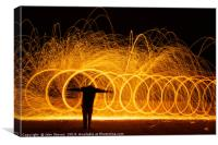 Wire Wool Spinning and a Cross, Canvas Print