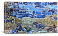 Abstract brick wall with blue tones, Canvas Print