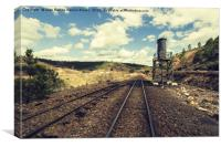 Old railway road in mining landscape, Canvas Print