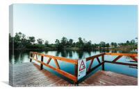 Wooden jetty with danger sign jumping into the wat, Canvas Print