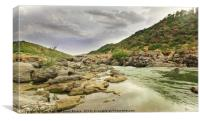 Guadiana river going down between the rocks and m, Canvas Print