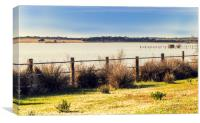 Beautiful view of meadow fenced with wooden poles , Canvas Print