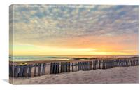 Fence on sand beach at sunset in Chipiona, Canvas Print
