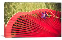 Red spanish fan and vinca major flower, Canvas Print