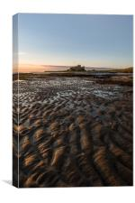 Across the sands to Bamburgh Castle, Canvas Print