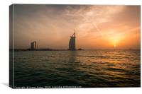 Sunset over the Palm Dubai, Canvas Print