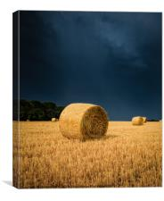 Summer Thunder Storm over the Hay bails, Canvas Print