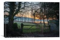 Sunrise through the Trees at Deene Park, Corby, No, Canvas Print