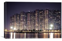 Apartment buildings block at night, Canvas Print