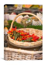 Red hot chillies in a basket, Canvas Print