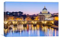 St Peter's Cathedral and Vatican city seen at dusk, Canvas Print
