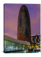 Night view of Torre Agbar, Canvas Print