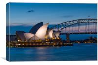 Sydney Opera House and Harbour bridge after sunset, Canvas Print