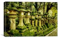 Moss covered Japanese lantern statues, Canvas Print