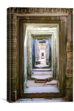 Russian doll doorways in temple, Canvas Print