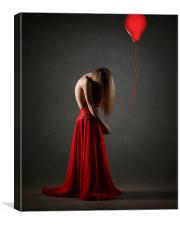 Sad woman in red, Canvas Print