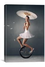 Lady on a unicycle, Canvas Print