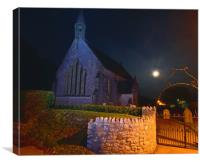 Village Church by Moonlight, Canvas Print