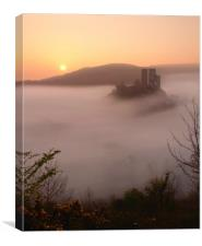 Serene Sunrise at Corfe Castle, Canvas Print