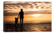 Family in the Worthing Sunset, Canvas Print