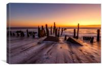Wooden Groynes at Spurn Point, Canvas Print