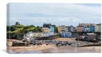 The pretty seaside town of Tenby at low tide, Canvas Print