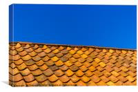 Red tiled, blue sky, Canvas Print