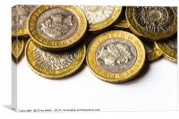 Two pound coins., Canvas Print
