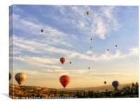 romantic ride in hot air balloon, Canvas Print