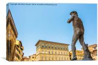 Michelangelo's David statue seen from behind, Canvas Print