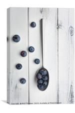 blueberries and a silver spoon on distressed white, Canvas Print
