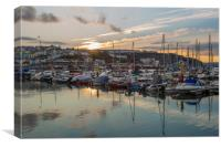 Sunset in Brixham harbour marina, Canvas Print