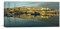 Coastal fishing port Brixham at dawn, Canvas Print