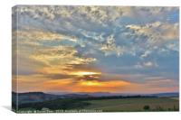 Sunset over Hailes Hill, Winchcombe, Canvas Print