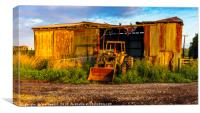 Old barn and tractor, Canvas Print