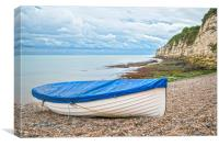A White Boat moored on the shoreline in Beer Devon, Canvas Print