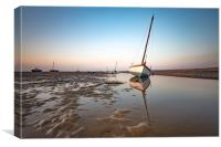 Boats in Meols during sunset, Canvas Print
