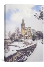 Snowy Road to the Abbey, Canvas Print